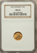 Commemorative Gold: , 1903 G$1 Louisiana Purchase/McKinley MS64 NGC. NGC Census:(515/892). PCGS Population (874/1086). Mintage: 17,500. Numismed...