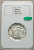 Commemorative Silver: , 1920 50C Maine MS65 NGC. CAC. NGC Census: (860/311). PCGSPopulation (918/427). Mintage: 50,028. Numismedia Wsl. Price for...