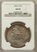 Morgan Dollars: , 1895-O $1 AU50 NGC. NGC Census: (379/1839). PCGS Population(509/1386). Mintage: 450,000. Numismedia Wsl. Price for problem...