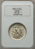 Commemorative Silver: , 1938-D 50C Texas MS66 NGC. NGC Census: (299/92). PCGS Population(284/79). Mintage: 3,775. Numismedia Wsl. Price for proble...
