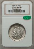 Commemorative Silver: , 1938-D 50C Texas MS66 NGC. CAC. NGC Census: (299/92). PCGSPopulation (284/79). Mintage: 3,775. Numismedia Wsl. Price for p...