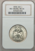 Commemorative Silver: , 1938 50C New Rochelle MS66 NGC. NGC Census: (527/100). PCGSPopulation (885/164). Mintage: 15,266. Numismedia Wsl. Price fo...