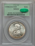 Commemorative Silver: , 1925 50C Vancouver MS63 PCGS. CAC. PCGS Population (702/2015). NGCCensus: (273/1701). Mintage: 14,994. Numismedia Wsl. Pri...