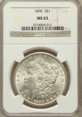 Morgan Dollars: , 1890 $1 MS63 NGC. NGC Census: (6770/4379). PCGS Population(6070/3998). Mintage: 16,802,590. Numismedia Wsl. Price for prob...