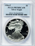 Modern Bullion Coins: , 1996-P $1 Silver Eagle PR70 Deep Cameo PCGS. PCGS Population (862).NGC Census: (617). Numismedia Wsl. Price for problem f...