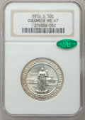 Commemorative Silver: , 1936-S 50C Columbia MS67 NGC. CAC. NGC Census: (117/7). PCGSPopulation (85/5). Mintage: 8,007. Numismedia Wsl. Price for p...