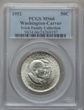 Commemorative Silver: , 1952 50C Washington-Carver MS66 PCGS. PCGS Population (273/13). NGCCensus: (291/15). Mintage: 2,006,292. Numismedia Wsl. P...