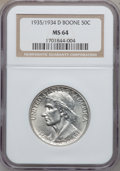 Commemorative Silver: , 1935/34-D 50C Boone MS64 NGC. NGC Census: (117/334). PCGSPopulation (148/484). Mintage: 2,003. Numismedia Wsl. Price forp...