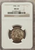 Barber Quarters: , 1906 25C MS65 NGC. NGC Census: (30/7). PCGS Population (47/21).Mintage: 3,656,435. Numismedia Wsl. Price for problem free ...