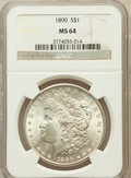 Morgan Dollars: , 1890 $1 MS64 NGC. NGC Census: (4079/304). PCGS Population(3555/443). Mintage: 16,802,590. Numismedia Wsl. Price forproble...