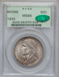 Commemorative Silver: , 1935 50C Boone MS66 PCGS. CAC. PCGS Population (208/39). NGCCensus: (166/24). Mintage: 10,000. Numismedia Wsl. Price for p...
