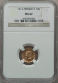 Commemorative Gold: , 1916 G$1 McKinley MS62 NGC. NGC Census: (271/2017). PCGS Population(379/3808). Mintage: 9,977. Numismedia Wsl. Price for p...