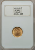 Commemorative Gold: , 1926 $2 1/2 Sesquicentennial MS63 NGC. NGC Census: (1455/4100).PCGS Population (2384/6403). Mintage: 46,019. Numismedia Ws...