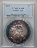 Modern Bullion Coins: , 1997 $1 Silver Eagle MS68 PCGS. PCGS Population (1131/3770). NGCCensus: (481/72589). Mintage: 4,295,004. Numismedia Wsl. P...