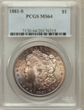 Morgan Dollars: , 1881-S $1 MS64 PCGS. PCGS Population (91342/61760). NGC Census:(91209/70135). Mintage: 12,760,000. Numismedia Wsl. Price f...