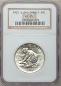 Commemorative Silver: , 1925-S 50C California MS65 NGC. NGC Census: (912/566). PCGSPopulation (748/417). Mintage: 86,394. Numismedia Wsl. Price fo...