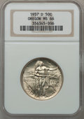 Commemorative Silver: , 1937-D 50C Oregon MS66 NGC. NGC Census: (901/589). PCGS Population(1157/636). Mintage: 12,008. Numismedia Wsl. Price for p...