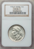 Commemorative Silver: , 1938-S 50C Boone MS64 NGC. NGC Census: (130/299). PCGS Population(218/384). Mintage: 2,100. Numismedia Wsl. Price for prob...