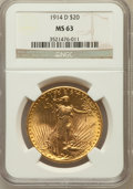 Saint-Gaudens Double Eagles: , 1914-D $20 MS63 NGC. NGC Census: (1961/2507). PCGS Population(1829/3308). Mintage: 453,000. Numismedia Wsl. Price for prob...