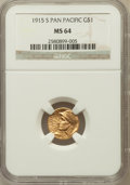 Commemorative Gold: , 1915-S G$1 Panama-Pacific Gold Dollar MS64 NGC. NGC Census:(1087/1456). PCGS Population (1676/2021). Mintage: 15,000. Numi...