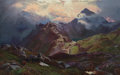 Fine Art - Painting, European:Antique  (Pre 1900), SIDNEY RICHARD PERCY (British, 1821-1886). Snowdon, from AboveLlyn Llydow, North Wales. Oil on canvas. 24 x 38 inches (...