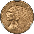Indian Half Eagles: , 1909-D $5 MS63 NGC. NGC Census: (8048/2597). PCGS Population(9700/2757). Mintage: 3,423,560. Numismedia Wsl. Price for pro...