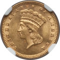 Gold Dollars: , 1889 G$1 MS63 NGC. NGC Census: (249/1257). PCGS Population(388/1589). Mintage: 29,000. Numismedia Wsl. Price for problem f...