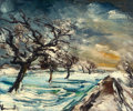 Paintings, MAURICE DE VLAMINCK (French, 1876-1958). Normandie, pommiers dans la neige, circa 1930. Oil on canvas. 21-1/4 x 25-1/2 i...