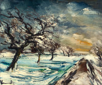 MAURICE DE VLAMINCK (French, 1876-1958) Normandie, pommiers dans la neige, circa 1930 Oil on canvas<