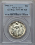 1936-D/D 50C San Diego, Repunched Mintmark, FS-501 MS66 PCGS. PCGS Population (6/0). NGC Census: (0/0)