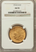 Indian Eagles: , 1914-S $10 AU55 NGC. NGC Census: (128/760). PCGS Population(90/647). Mintage: 208,000. Numismedia Wsl. Price for problem f...
