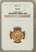 Three Dollar Gold Pieces: , 1878 $3 AU55 NGC. NGC Census: (430/4307). PCGS Population(577/4417). Mintage: 82,304. Numismedia Wsl. Price for problemfr...
