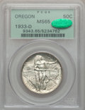 Commemorative Silver: , 1933-D 50C Oregon MS65 PCGS. CAC. PCGS Population (752/465). NGCCensus: (422/289). Mintage: 5,008. Numismedia Wsl. Price f...