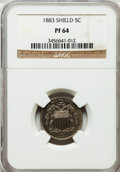 Proof Shield Nickels: , 1883 5C PR64 NGC. NGC Census: (281/627). PCGS Population (370/630).Mintage: 5,419. Numismedia Wsl. Price for problem free ...