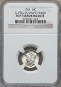 Errors, 1924 10C Mercury Dime -- Clipped Planchet @4:00 -- MS66 Full Bands NGC.. From The Teich Family Collection....