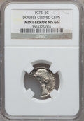 Errors, 1974 5C Jefferson Nickel -- Double Curved Clips -- MS66 NGC....