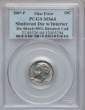 Errors, 2007-P 10C Roosevelt Dime -- Shattered Die with Interior Die Break, Plus 50% Retained Cud -- MS64 PCGS....