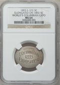 Expositions and Fairs, 1893 World's Columbian Exposition -- Elongated on 1892 Nickel -- MS64 NGC. Eglit-372....