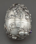 Silver Smalls:Other , AN IVAN KHLEBNIKOV RUSSIAN SILVER AND GARNET EGG . Ivan PetrovichKhlebnikov, Moscow, Russia, circa 1908-17. Marks: IKh ...