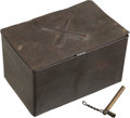 """Arms Accessories, Civil War Tin Container for """"100 Friction Primers / FrankfordArsenal"""" With Crossed Cannons and Flaming Ordnance Bomb,..."""