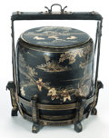 Asian:Japanese, A FOUR-PIECE JAPANESE LACQUERED BOX IN STAND. Circa 1900. 29-1/2inches high (74.9 cm). ...