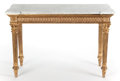 Decorative Arts, French:Other , A LOUIS XVI-STYLE GILT WOOD AND MARBLE CONSOLE TABLE. France, circa1875. 34 x 50 x 21 inches (86.4 x 127 x 53.3 cm). ... (Total: 2Items)
