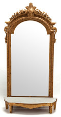 Decorative Arts, French:Other , A LOUIS XVI-STYLE GILT WOOD MIRROR. France, circa 1900. 94 incheshigh x 47 inches wide (238.8 x 119.4 cm) (without shelf). ...(Total: 2 Items)