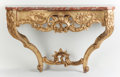 Decorative Arts, French:Other , A FRENCH ROCOCO-STYLE GILT WOOD AND MARBLE CONSOLE TABLE. France,circa 1860. 33 x 52-1/2 x 24 inches (83.8 x 133.4 x 61.0 c...(Total: 2 Items)