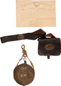 Arms Accessories:Flasks, Cartridge Box and Canteen of Levi Weise of the 93rd PennsylvaniaInfantry.... (Total: 3 Items)