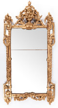 Decorative Arts, French:Other , A LOUIS XVI-STYLE GILT WOOD MIRROR. France, circa 1900. 75 incheshigh x 40 inches wide (198.1 x 101.6 cm). ... (Total: 2 Items)