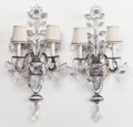 Decorative Arts, French:Lamps & Lighting, A PAIR OF FRENCH-STYLE ROCK CRYSTAL AND SILVERED METAL TWO-LIGHTSCONCES . Circa 1930. 29 inches high (73.7 cm). ... (Total: 2Items)