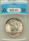 Peace Dollars: , 1924 $1 MS61 ANACS. NGC Census: (164/38676). PCGS Population(151/29092). Mintage: 11,811,000. Numismedia Wsl. Price for pr...