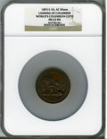 Expositions and Fairs, 1893 World's Columbian Exposition, Landing of Columbus MS63 Brown NGC. Eglit-54. Bronze, 50mm....