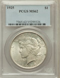 Peace Dollars: , 1925 $1 MS62 PCGS. PCGS Population (2165/35877). NGC Census:(911/42713). Mintage: 10,198,000. Numismedia Wsl. Price for pr...